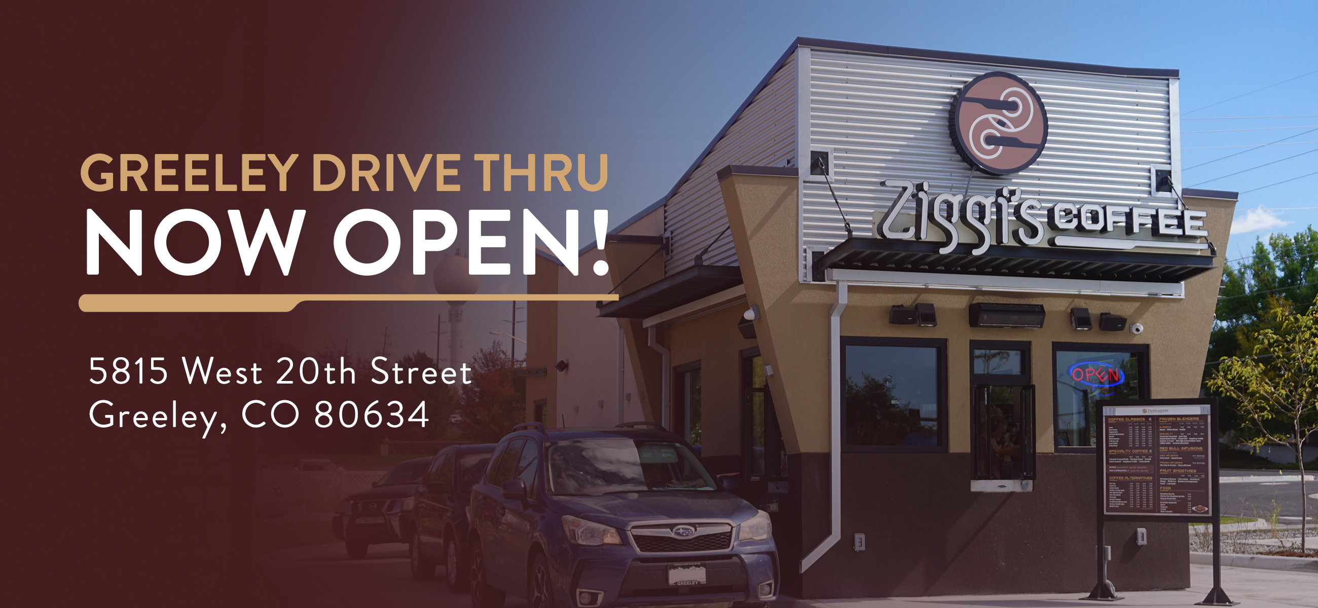 Picture of new double-sided Ziggi's Coffee drive thru in Greeley, Colorado