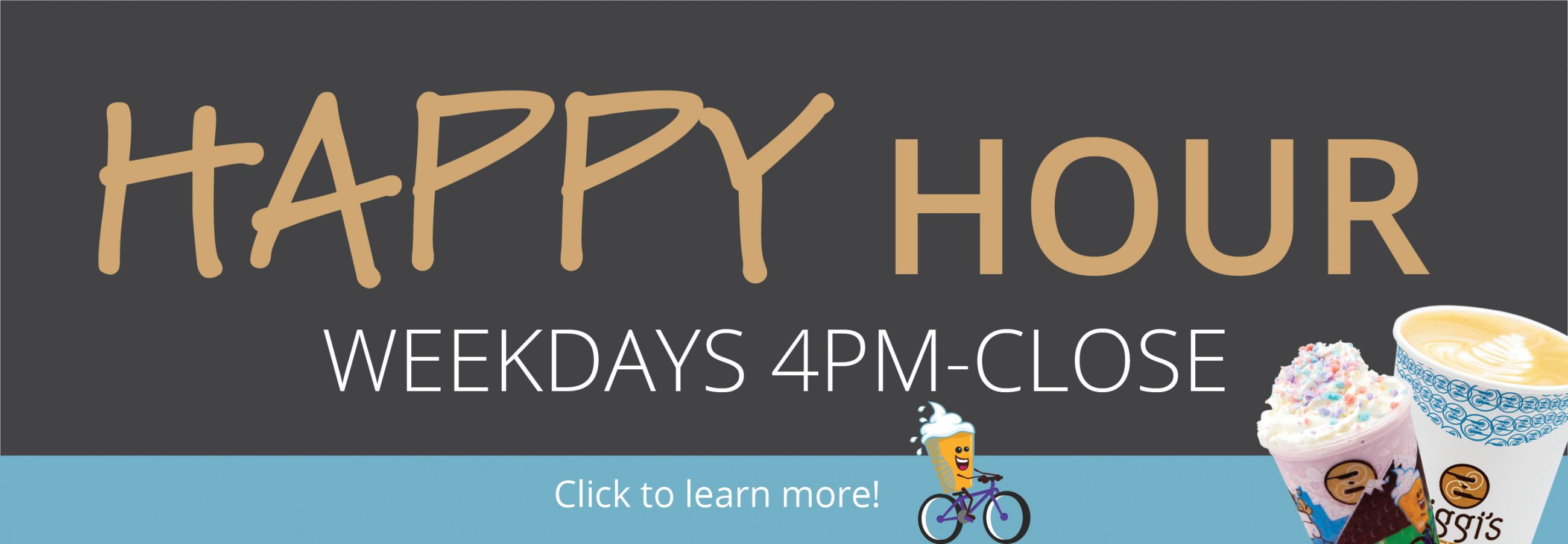 January Happy Hour | Picture of two drinks and KidZone Character