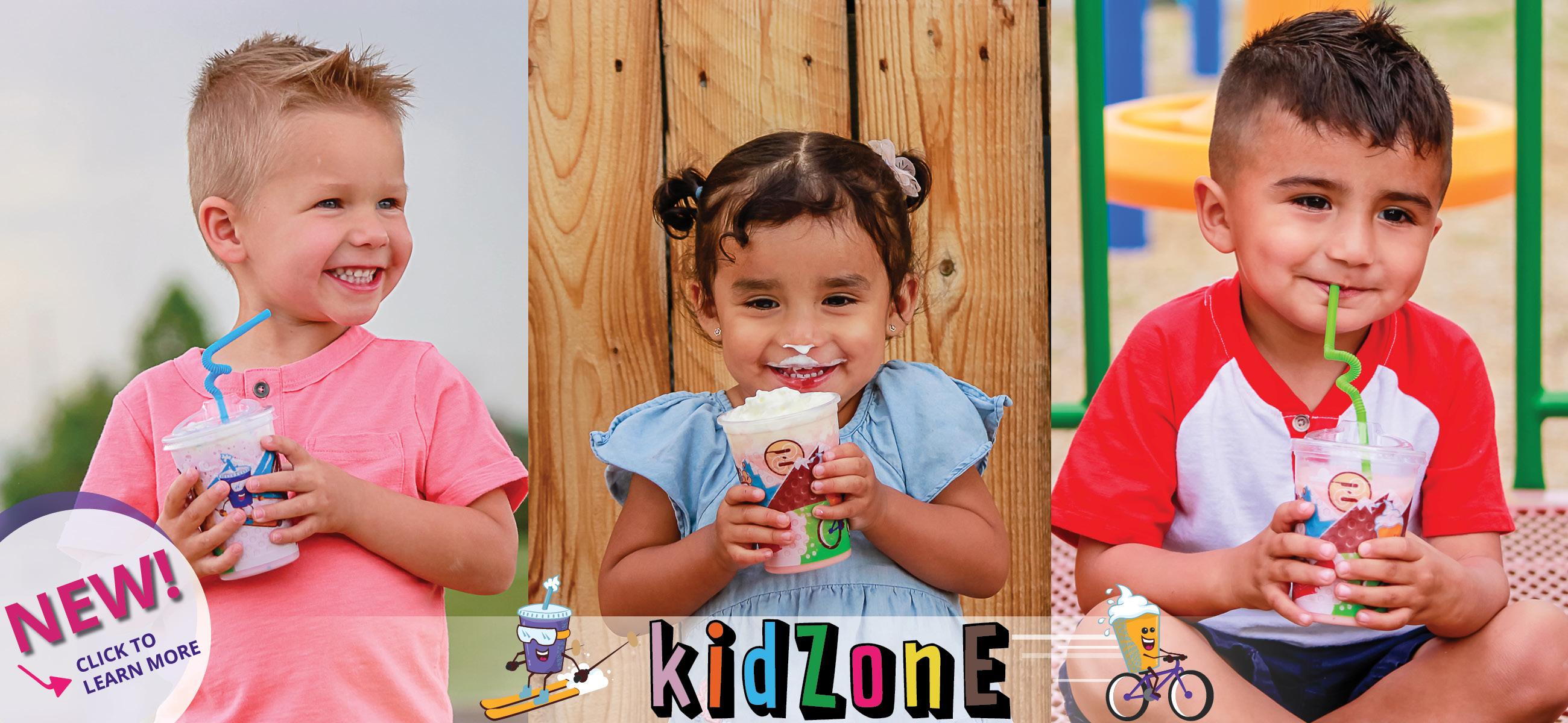 Photo of kids holding Ziggi's Coffee kidZone drinks