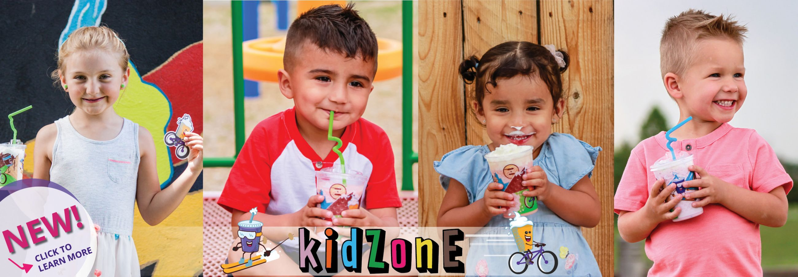Photo of kids holding Ziggi's Coffee kidZone drinks