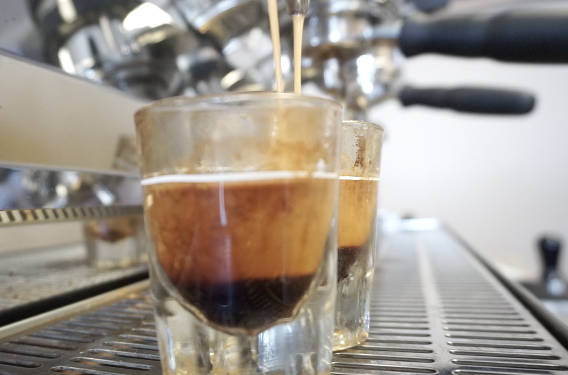 Photo of espresso shots being pulled on the La Marzocco Strada EP