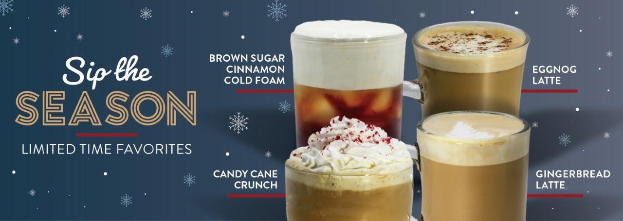 A photo of four of Ziggi's Coffee seasonal holiday drinks: Brown Sugar Cinnamon, Candy Cane Crunch, Eggnog Latte, Gingerbread Latte