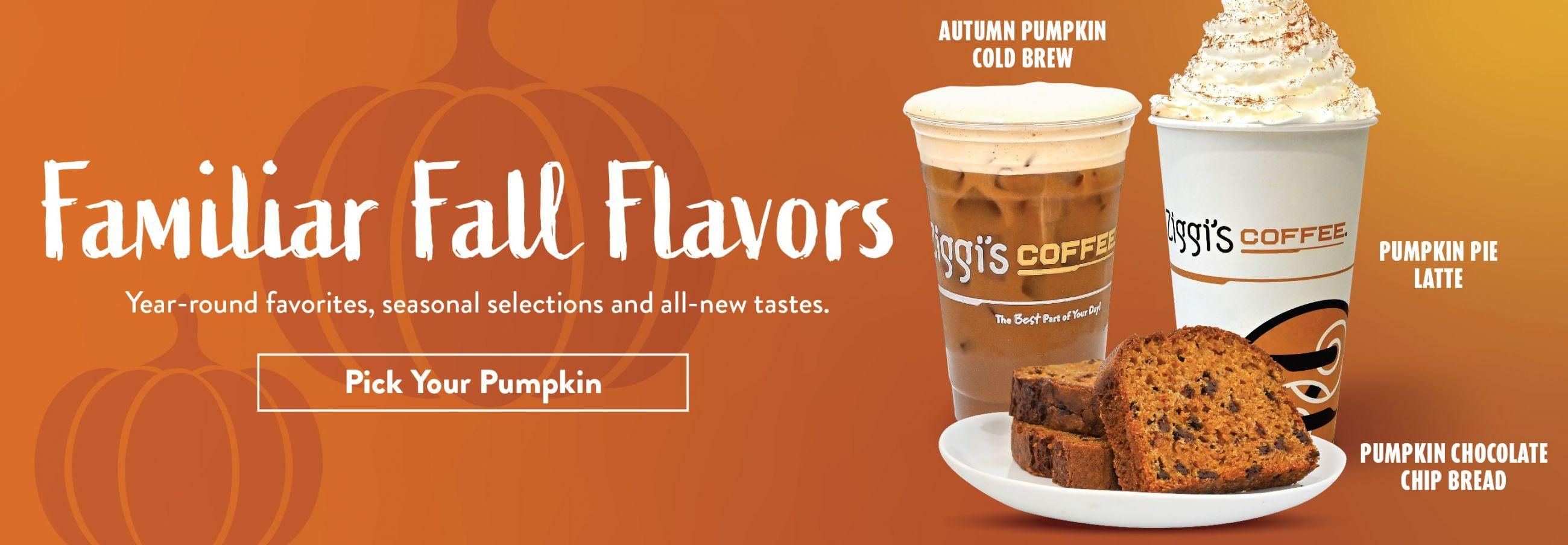 Autumn Pumpkin Cold Brew, Pumpkin Pie Latte and Pumpkin Bread available at Ziggi's Coffee