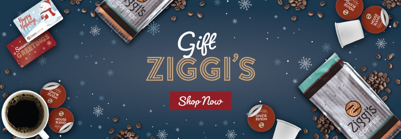 Ziggi's online shop for the holidays, includes picture of coffee, single-serve pods, and gift cards