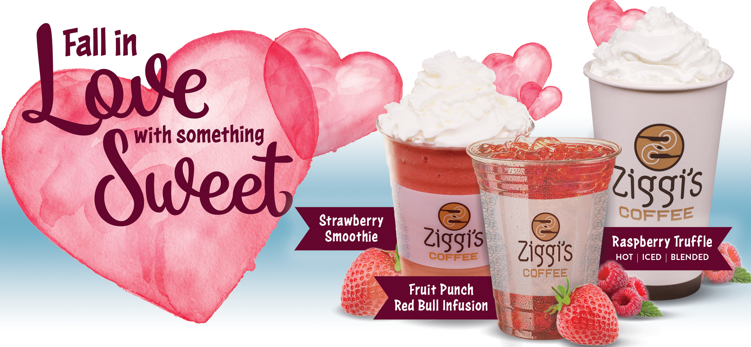 Fall in love with something sweet at Ziggi's Coffee - Photo of a Raspberry Truffle (hot, iced or blended), Fruit Punch Red Bull Infusion, and Strawberry Smoothie
