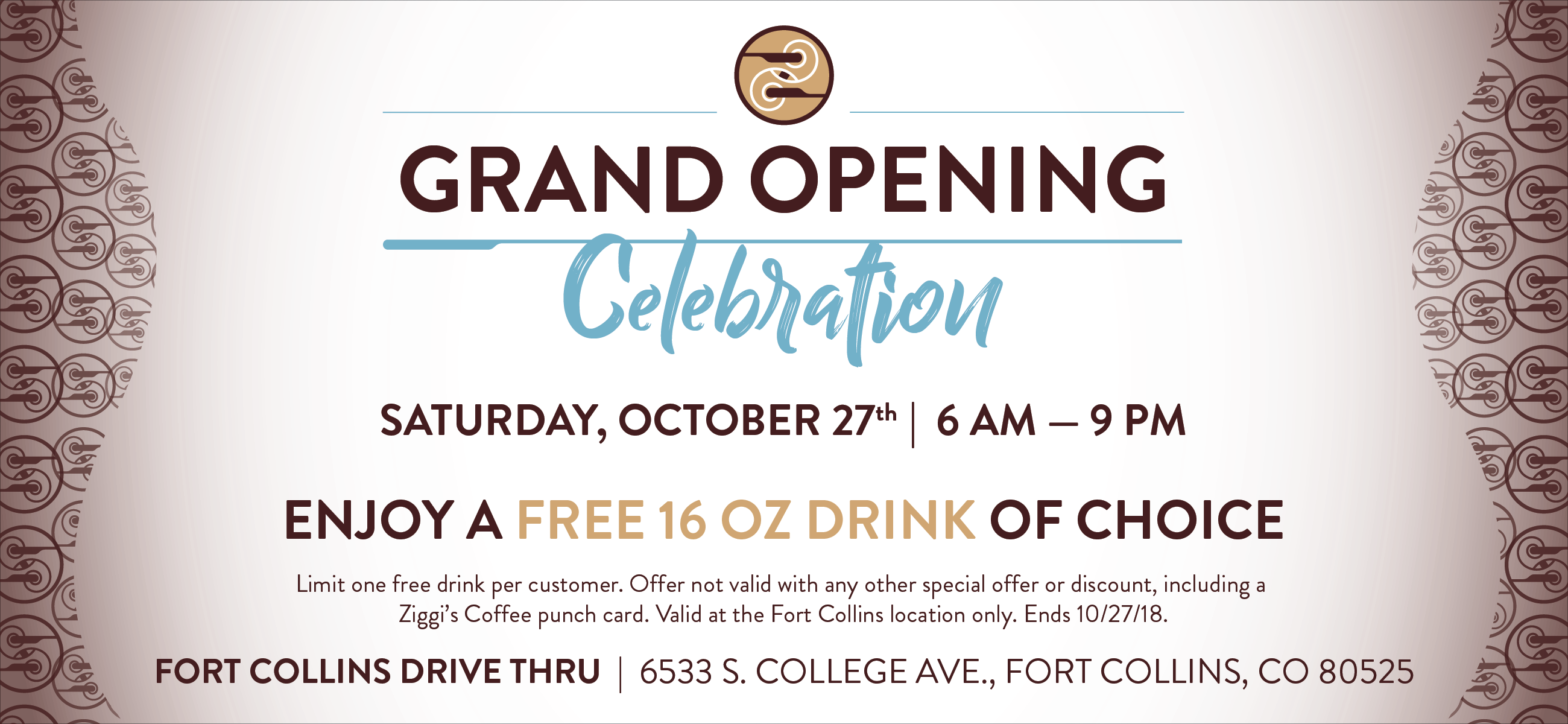 Ziggi's Coffee Fort Collins Grand Opening Event | Saturday, October 27th | 6am-9pm