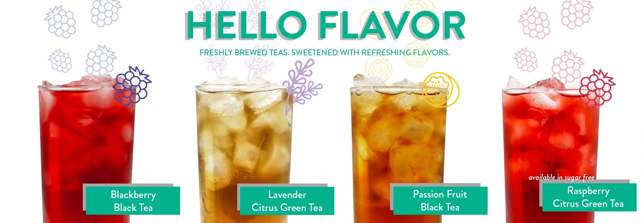 Photo of Ziggi's freshly brewed iced tea flavors in a row: Blackberry Black Tea, Lavender Citrus Green Tea, Passion Fruit Black Tea, Raspberry Citrus Green Tea