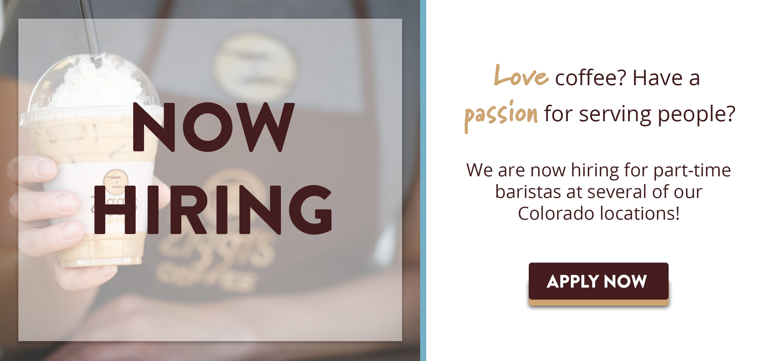 Picture of barista holding Ziggi's Coffee iced drink | Love coffee? Have a passion for serving people? Ziggi's Coffee is now hiring for a part-time barista at several of its Colorado locations. Apply today!