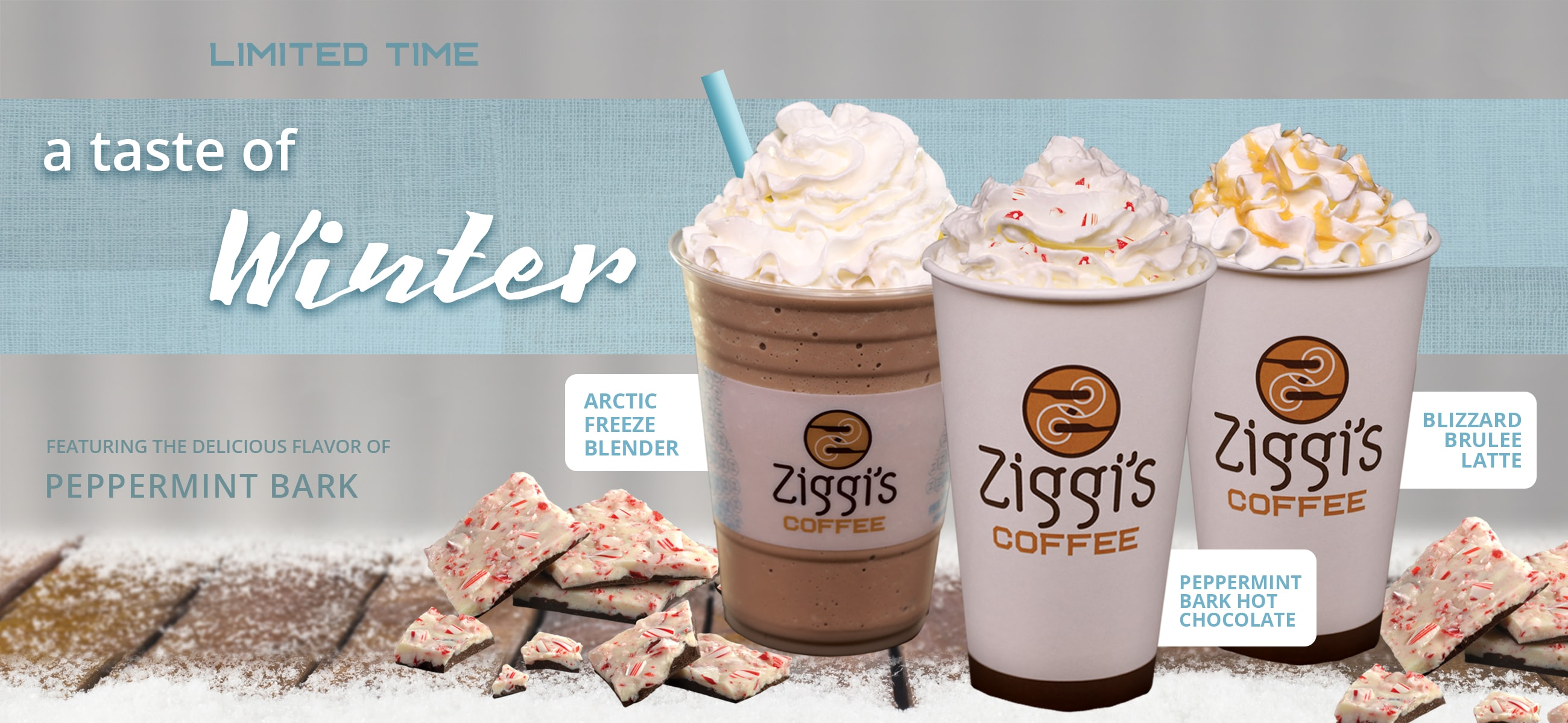 Photo of Ziggi's Coffee peppermint bark holiday drinks