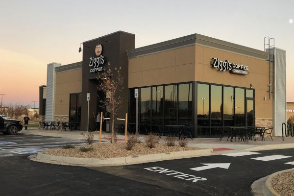 Photo of the exterior of the Ziggi's Coffee Thornton drive thru and cafe location